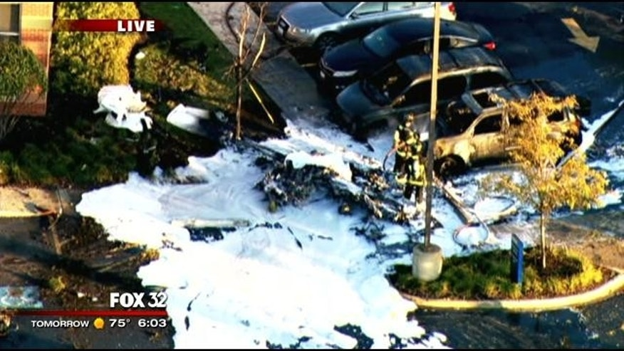 September 25, 2013: An aerial view of the site of Wednesday's small plane crash in Bolingbrook, Ill. (MyFoxChicago.com)