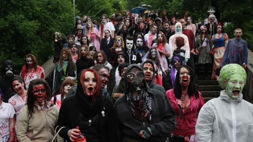 A Florida store is likely the nation's second store dedicated to zombies, selling zombie wares including severed heads, and blood-spattered table cloths -- things that could come in handy for these enthusiasts dressed as zombies taking part in the annual Zombie Walk festival in Prague on June 1, 2013.