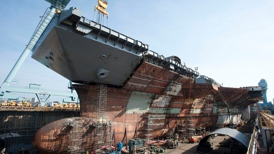 The 1,106-foot-long ship will be christened in November. (Courtesy: Huntington Ingalls Industries)