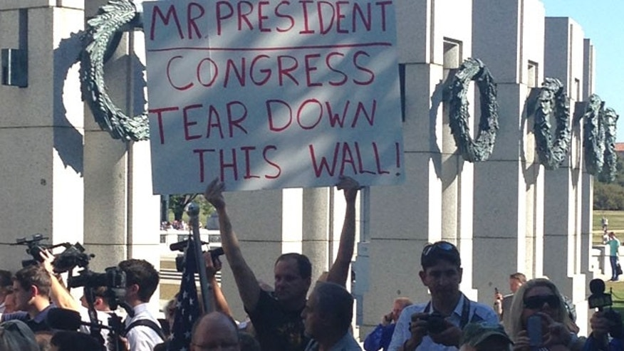 Some protesters were on hand Wednesday morning at the World War II Memorial in Washington.