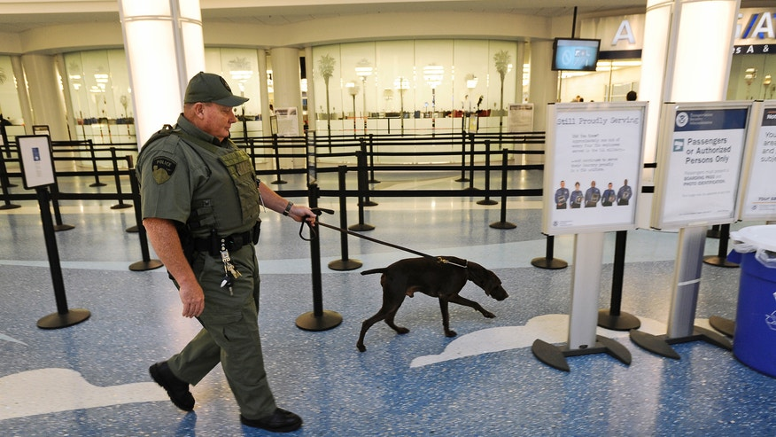 "Jacksonville International Airport police officer Tim Hodges walks around the terminal with a bomb dog at Jacksonville International Airport, Wednesday, Oct. 2, 2013.  Authorities said a man arrested at Jacksonville International Airport told security screeners he had a bomb in his backpack but they only found a luggage scale with a microchip inside, along with a remote control device he called a ""detonator.""  Zeljko Causevic, 39, was booked into jail early Wednesday and was being held without bond on charges that included making a false report about planting a bomb or explosive and manufacturing, possessing, selling or delivering a hoax bomb, according to an arrest report. (AP Photo/The Florida Times-Union, Bob Self)"