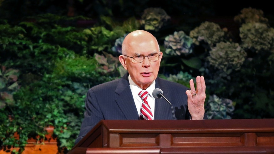 Elder Dallin H. Oaks speaks at the morning session of the 183rd General Conference of the Church of Jesus Christ of Latter-day Saints, Sunday, Oct. 6, 2013, in Salt Lake City. The Church of Jesus Christ of Latter-day Saints' president Thomas S. Monson kicked off the two-day conference that brings 100,000 members to Salt Lake City by announcing the latest membership milestone from one of the fastest-growing churches in the world.  (AP Photo/The Deseret News, Tom Smart)  SALT LAKE TRIBUNE OUT;  MAGS OUT