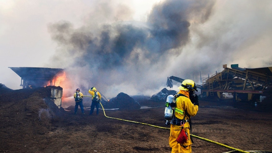 Newport Beach and Laguna Beach firefighters work to put out a mulch pile at a nursery near Santiago Canyon in Orange County, Calif. Sunday, Oct. 6, 2013. The blaze, reported late Sunday morning, quickly spread to surrounding wild vegetation, said Orange County Fire Authority Capt. Steve Concialdi. No homes were threatened.(AP Photo/The Orange County Register, Stuart Palley)   MAGS OUT; LOS ANGELES TIMES OUT