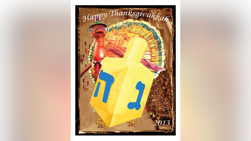 This image released by ModernTribe.com shows a Thanksgivukkah card celebrating Thanksgiving and Hanukkah.  (AP Photo/ModernTribe.com)