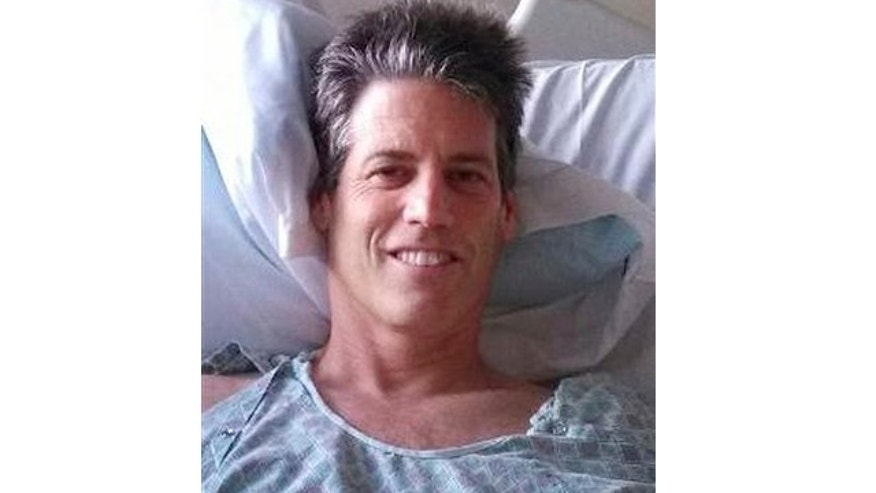Oct. 7, 2013: This photo provided by Sunni Scrivner shows her husband Jay Scrivner at St. Joseph Hospital in Eureka, Calif.