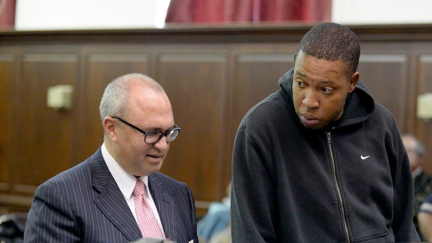Craig Wright, right, stands in court with his attorney Mitchell Elman in New York, Tuesday, Oct. 8, 2013.  Wright, 29, of Brooklyn, was arrested on charges of gang assault, assault and unlawful imprisonment, police said, for his involvement with an encounter between a group of bikers and the driver of a sport utility vehicle on Sept. 29.   Dozens of bikers stopped the Range Rover SUV on a highway, attacked the vehicle, then chased the driver and pulled him from the car after he plowed over a motorcyclist while trying to escape, police said. The driver, Alexian Lien, needed stitches after being pummeled by the bikers. (AP Photo/New York Post, Steven Hirsch, Pool)