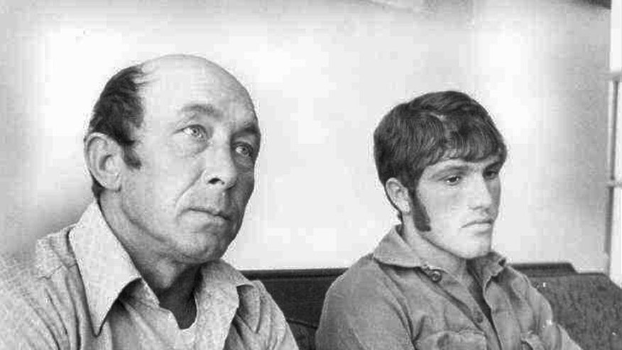 FILE - In this Oct. 18, 1973 file photograph taken in Gautier, Miss., Charles Hickson, left, and Calvin Parker Jr., of Pascagoula, Miss., recount the experience of their alleged abduction by aliens from the banks of the Pascagoula River where they were fishing. (AP Photo/Mississippi Press, Gary Holland, File)