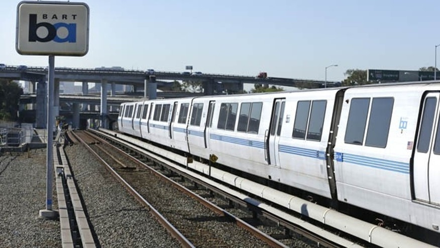 October 15, 2013: A Bay Area Rapid Transit train leaves a station Tuesday in Oakland, Calif.
