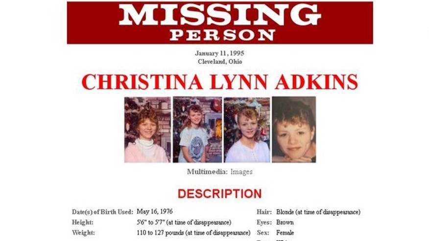 An FBI missing persons poster of Christina Adkins, who was pregnant and 18 years old when she was last seen in 1995.