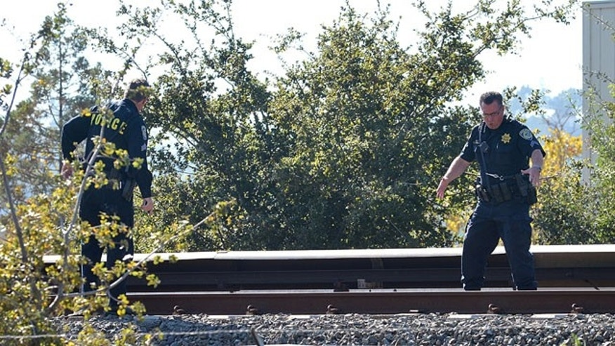 October 19, 2013: Two BART police officers look over the BART tracks along Jones Road in Walnut Creek, Calif., where two workers were killed by a moving BART train on Saturday. (AP Photo/The Mercury News, Dan Rosenstrauch)