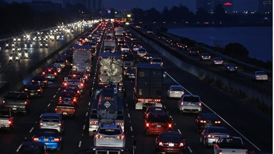 Oct. 21, 2013: Traffic crawls on I-80 leading to the San Francisco-Oakland Bay Bridge during the morning commute on Monday as a major transit strike entered its fourth day.