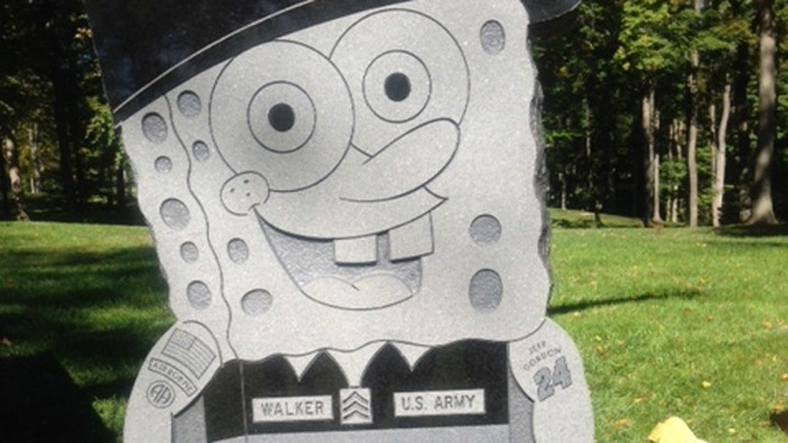 Oct. 10, 2013: This photo provided by the family of Kimberly Walker,  shows Walker's gravestone in the likeness of popular cartoon character SpongeBob SquarePants.