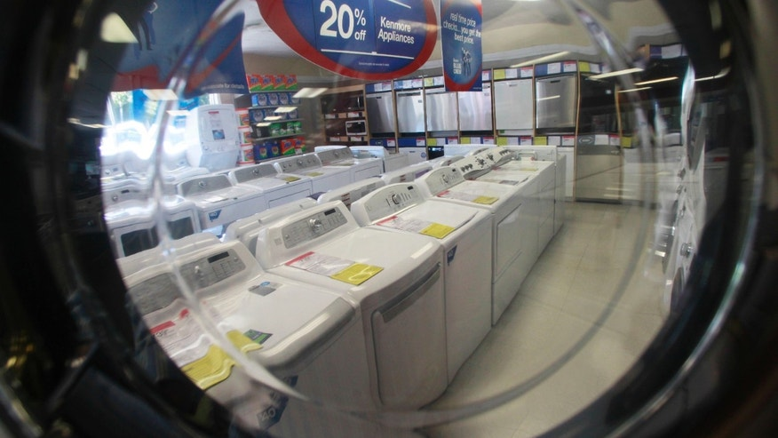 In this Wednesday, Sept. 18, 2013 photo, appliances are on display at a Sears store in Berlin, Vt.  Commerce Department reports on business orders for durable goods in September Friday Oct. 25, 2013. (AP Photo/Toby Talbot)