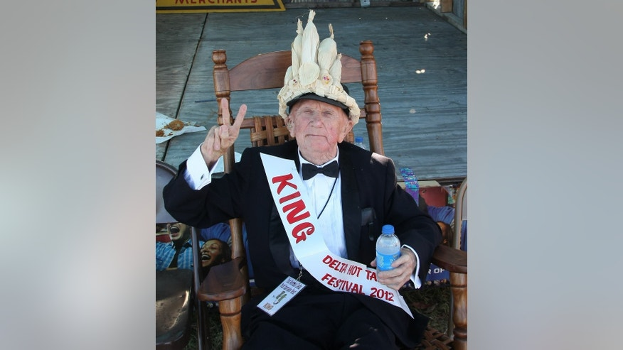 "World War II veteran Lawrence ""Shine"" Thornton, 87, is shown after being crowned ""Hot Tamale King"" for his home-cooked beef tamales. Thornton died from injuries he received during an apparent mugging at his Mississippi home on October 20, 2013."