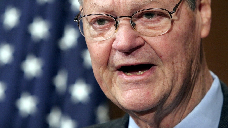 FILE - In this Dec. 18, 2005 file photo, Rep. Ike Skelton, D-Mo., ranking democrat on the House Armed Services Committee, speaks during a news conference in Washington. Skelton, who built a reputation as a military expert and social conservative during 34 years representing western and central Missouri in the U.S. House, died Monday, Oct. 28, 2013 in Virginia. He was 81. (AP Photo/Lauren Victoria Burke, File)