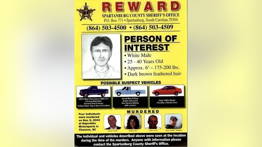 Spartanburg County deputies released this flier of a man investigators want to talk to about the unsolved killings of four people on the Superbike Motorsports motorcycle shop in Chesnee, S.C., in November 2003. Authorities said he was in the shop less than an hour before the shootings.  (AP Photo/Spartanburg County Sherrif's Department)
