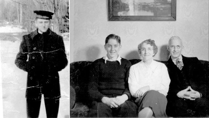 Edwin Hopkins, left, sits with his mother and father in an undated photograph prior to Hopkins joining the Navy.