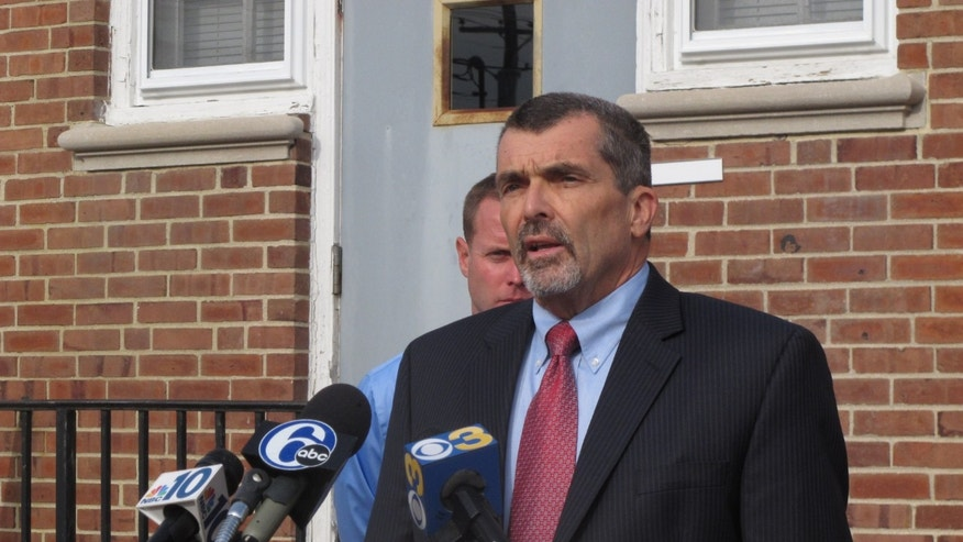 Lawyer John Jordan gives a statement on behalf of the father and siblings of Paul Ciancia on Monday, Nov. 4, 2013, in Pennsville, N.J. Ciancia is accused of opening fire at Los Angeles International Airport on Nov. 1, killing a Transportation Security Administration officer. (AP Photo/Geoff Mulvihill)