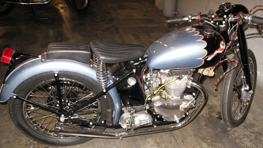 This undated photo provided by the U.S. Customs & Border Protection shows a recently recovered a 1953 Triumph motorcycle which was stolen more than 46 years ago from its owners backyard in Omaha, Nebraska in 1967.