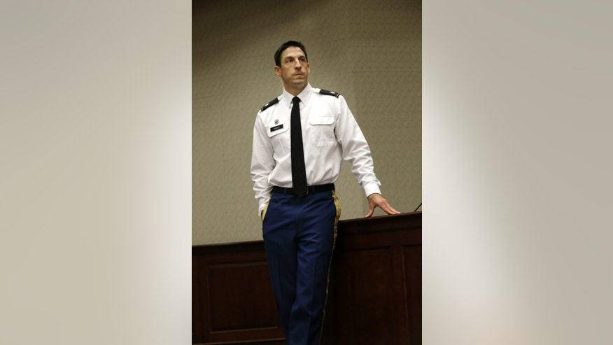 Military prosecutor  U.S. Army Lt. Col.  Jay Morse waits to speak to a class at the SMU Dedman School of Law in Dallas, Thursday, Nov. 7, 2013. The military prosecutor who won a life sentence for a soldier who massacred 16 Afghan civilians says he tried his best to serve the soldier's victims, many of whom wanted a death sentence. Morse prosecuted Sgt. Robert Bales, who shot 22 people in Afghanistan's Kandahar province in March 2012. (AP Photo/LM Otero)