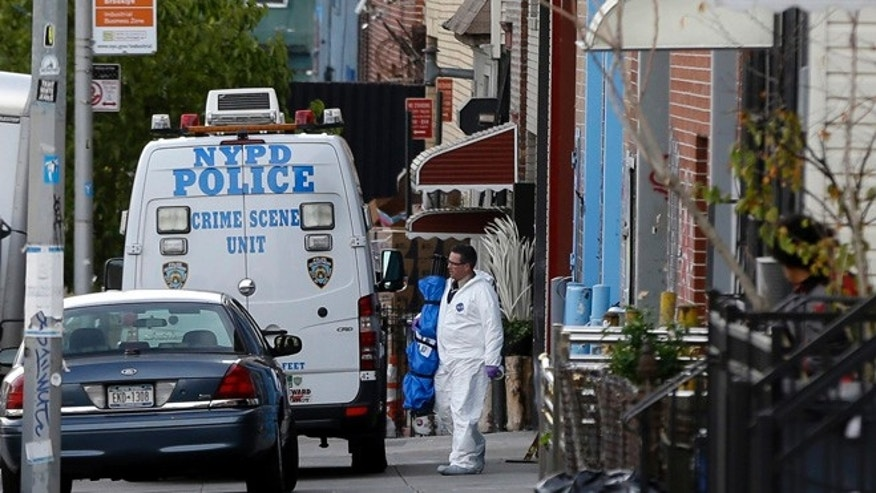 Nov. 11, 2013: Crime scene personnel work at a crime scene in the Brooklyn section of New York.