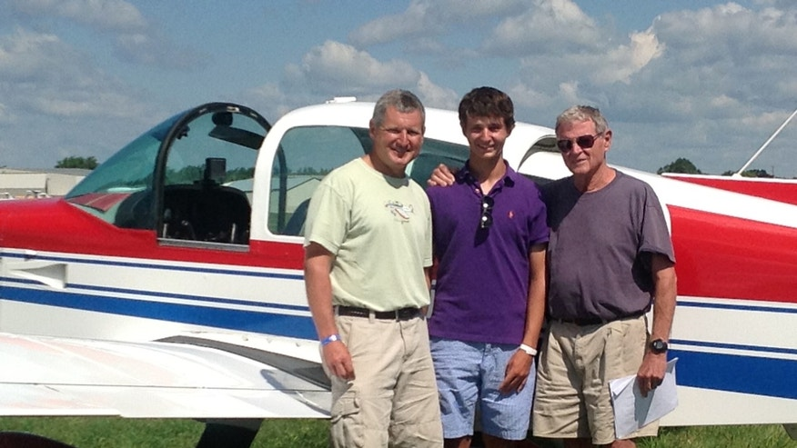 This photo Aug. 1, 2013 photo, courtesy of Sen. James Inhofe, R-Okla., shows from left, Inhofe's son Perry Inhofe, Inhofe's grandson Cole Inhofe and Sen. Inhofe in Oshkosh, Wis. Dr. Perry Inhofe, who was killed in a weekend plane crash in northeast Oklahoma. (AP Photo/Courtesy of Sen. James Inhofe, Ryan Jackson)