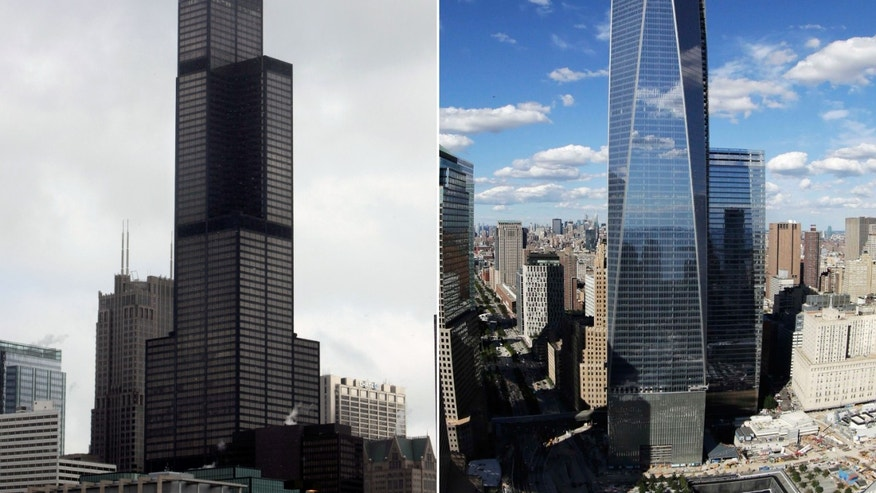 This combination made from file photos shows Willis Tower, formerly known as the Sears Tower, in Chicago on March 12, 2008, left, and One World Trade Center in New York on Sept. 5, 2013. Soaring above the city at 1,776 feet, 104-story One World Trade Center is in contention with Willis Tower for the title of America's tallest building. A committee of architects recognized as the arbiters on world building heights is meeting Friday Nov. 8, 2013 in Chicago to decide whether a design change affecting One World Trade Center's needle disqualifies its hundreds of feet from being counted, which would deny the building the title of nation's tallest giving the title to the 110 story Willis Tower at 1,450 feet.  (AP Photo)