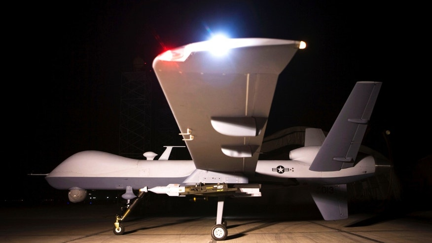 An MQ-9 Reaper sits on a ramp in Afghanistan Sept. 31. The Reaper is launched, recovered and maintained at deployed locations, while being remotely operated by pilots and sensor operators at Creech Air Force Base, Nev.