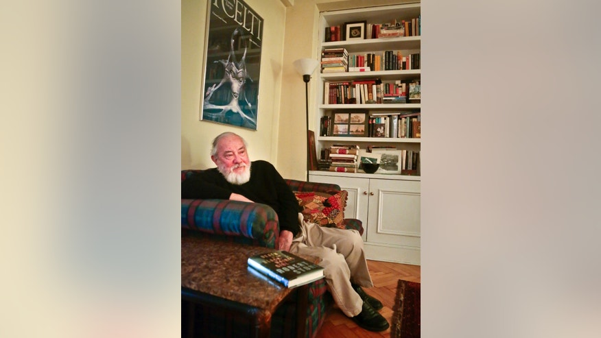 """This Nov. 7, 2013 photo shows American novelist Robert Stone during an interview in New York to promote his latest book  """"Death of the Black-Haired Girl."""" (AP Photo/Bebeto Matthews)"""
