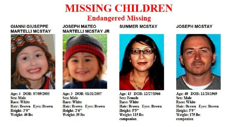 FILE - These file images provided by the San Diego Police Department shows members of the McStay family, who disappeared from their Fallbrook home more than three years ago. Patrick McStay, Joseph McStay's father, told a San Diego-area TV station Friday, Nov. 15, 2013, that he has been informed by investigators from the San Bernardino County Sheriff's Department that two of the four bodies discovered in shallow graves near Victorville were Joseph McStay and his wife, Summer McStay. (AP Photo/San Diego Police Department, File)