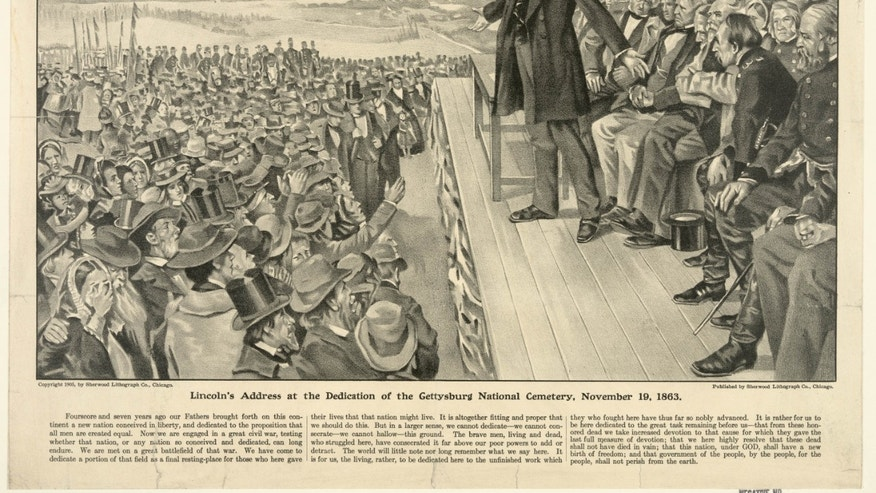 "This 1905 artist's rendering from the Sherwood Lithograph Co. via the Library of Congress depicts President Abraham Lincoln speaking at the dedication of the Gettysburg National Cemetery on Nov. 19, 1863. The Gettysburg Address is unusual among great American speeches, in part because the occasion did not call for a great American speech. Lincoln was not giving an inaugural address, a commencement speech or remarks in the immediate aftermath of a shocking national tragedy. ""No one was looking for him to make history,"" says the Pulitzer Prize winning Civil War historian James McPherson. (AP Photo/Sherwood Lithograph Co. via the Library of Congress)"