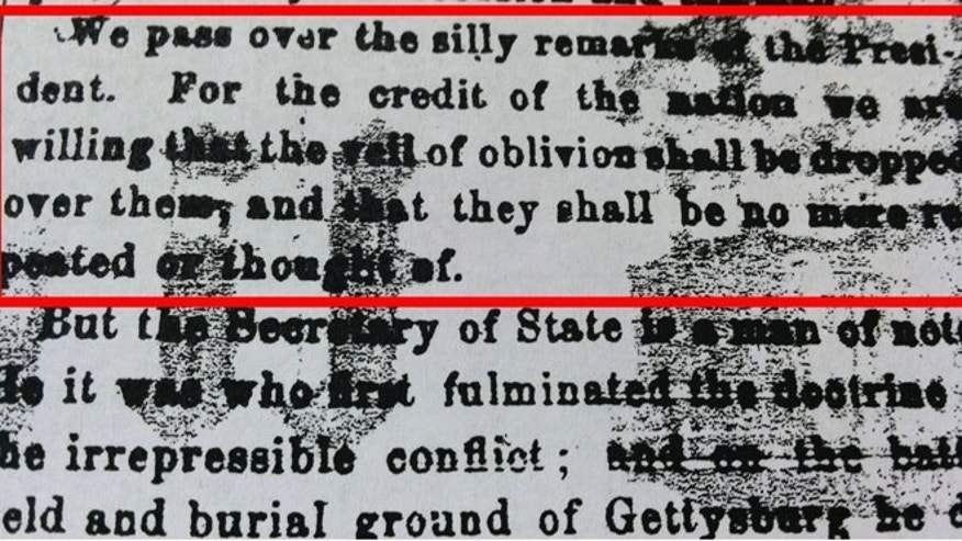 FILE: An infamous editorial dismissing President Abraham Lincoln's Gettysburg Address in the Nov. 24, 1863 issue of the Patriot & Union, now known as The Patriot-News, is shown in this photo.