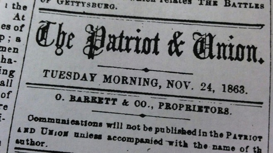 FILE: The front page of the Nov. 24, 1863 issue of the Patriot & Union, now known as The Patriot-News.