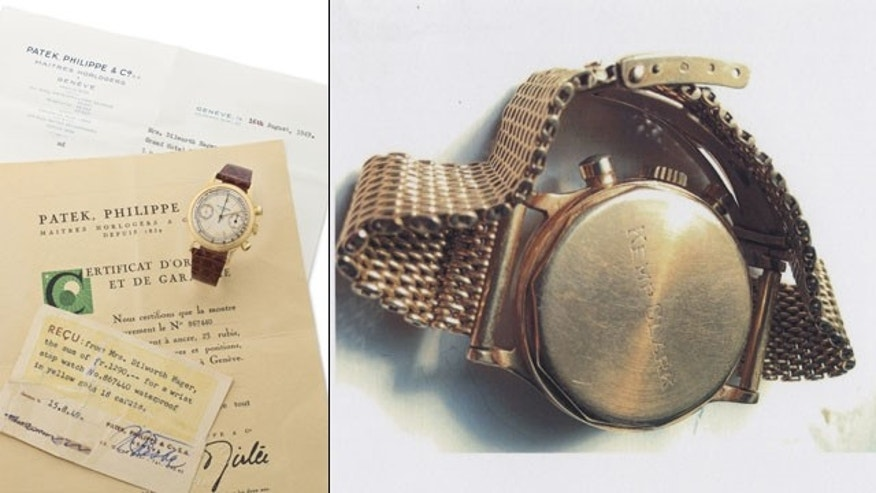 These undated images provided by Christie's shows the wristwatch believed to have been worn by the neurosurgeon who signed John F. Kennedy's death certificate. The 18-carat Patek Philippe timepiece is going on the auction block in New York City, where it is estimated to bring up to $150,000 at Christie's on Dec. 17. (AP Photo/Christie's)