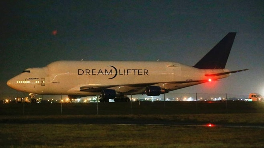 Nov. 20, 2013: A Boeing 747 LCF Dreamlifter  sits on the runway after accidentally landing at Jabara airport in Wichita, Kansas, thinking it was landing at McConnell Air Force Base.