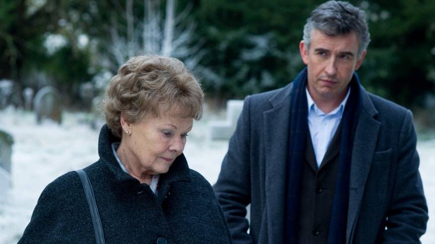 "This image released by The Weinstein Company shows Judi Dench, left, and Steve Coogan in a scene from ""Philomena."" The British comic and Oscar-winning actress co-star in the film opening Friday, Nov. 22, 2013, which explores the benefits and costs of faith through the true story of Philomena Lee. (AP Photo/The Weinstein Company, Alex Bailey)"