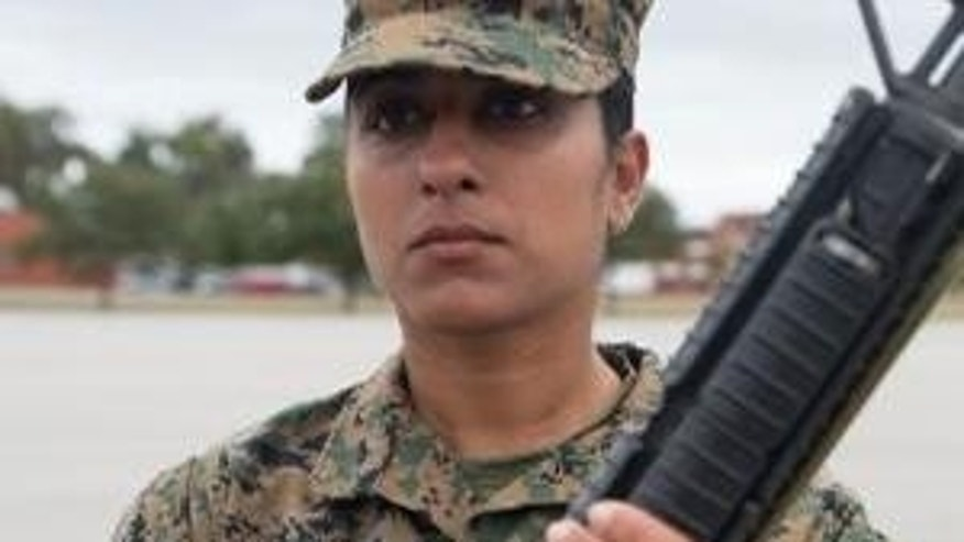 This photo, taken by Lance Cpl. MaryAnn Hill, shows 30-year-old Rct. Aseel Salman.