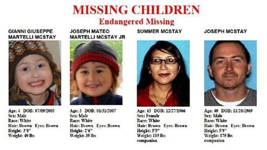 Image provided by the San Diego Police Department shows members of the McStay family whose abandoned SUV was found near the Mexico border near San Diego.