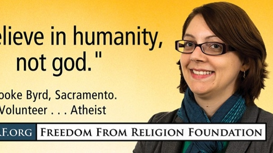 FILE: Brooke Byrd, an atheist, is one of several dozen people who will grace billboards across the Sacramento, Calif. area over the next month as part of the Freedom from Religion Foundation's effort to have non-believers be open about their lack of faith, organizers say.