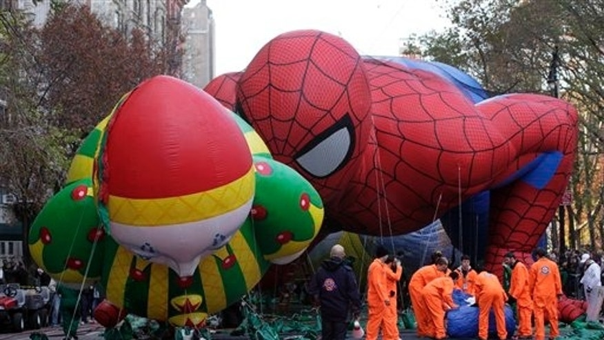 Nov. 21, 2012: The Chloe ballon and Spider-Man balloon are inflated for the 86th annual Macy's Thanksgiving Day Parade on New York's Upper West Side.