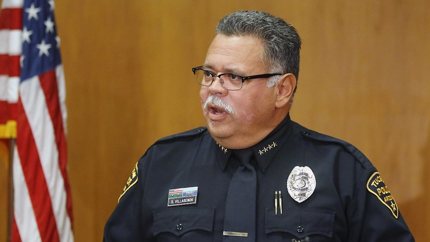 Chief Roberto Villaseñor, of the Tucson Police Department, answers questions during a news conference on Wednesday, Nov. 27, 2013, in Tucson, Ariz. Police on Wednesday were poring over a journal they say a 17-year-old girl kept while she and her two younger sisters were imprisoned by their mother and stepfather in their Tucson home for up to two years. (AP Photo/Arizona Daily Star, Mamta Popat) ALL LOCAL TV OUT; PAC-12 OUT; MANDATORY CREDIT