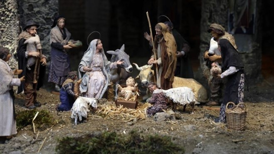 FILE: Dec. 21, 2012: A Nativity Scene is shown in St. Peter's Square at the Vatican.
