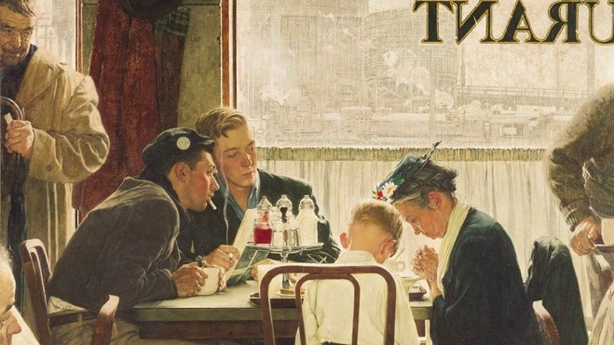 """FILE: This undated file photo provided by Sotheby's shows the popular Norman Rockwell masterpiece """"Saying Grace,"""" which fetched $46 million at an auction on Dec. 4, 2013."""