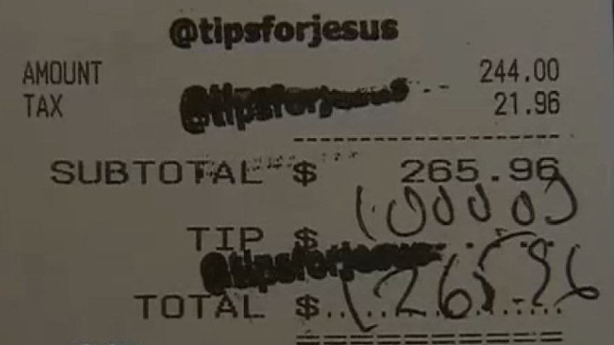 "UNDATED: A waitress at the Hungry Cat in Los Angeles recently recieved a $1,000 tip from a mystery tipper or group of tippers that signs credit card slips with the words ""Tips for Jesus."""