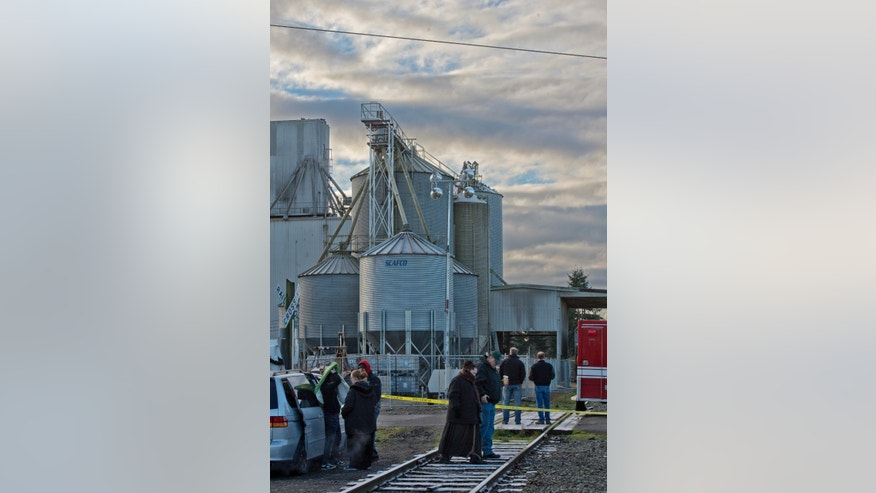 Family of the missing worker and managers from Wilcox Family Farms wait at the site of two collapsed grain silos in Roy, Wash., Tuesday, Dec. 3, 2013. A fire chief says a worker is presumed dead after the silos collapsed on Monday.  Cranes are being brought in to stabilize the structures before the piles of grain can be moved.  (AP Photo/The News Tribune,Peter Haley)