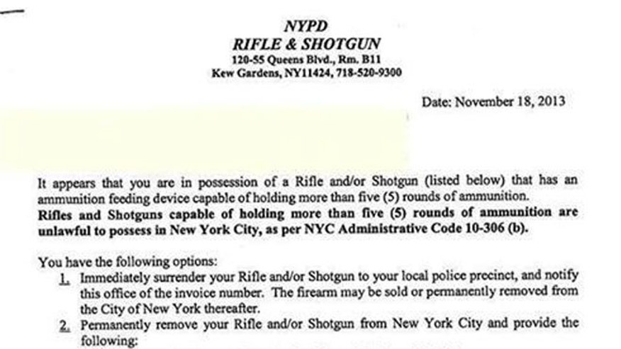Gun owners in New York City received notices in the mail about modifying their shotguns.