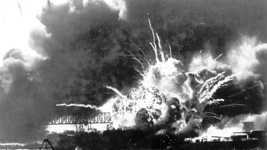 FILE - In this Dec. 7, 1941 file photo, the destroyer USS Shaw explodes after being hit by bombs during the Japanese surprise attack on Pearl Harbor, Hawaii. Saturday marks the 72nd anniversary of the attack that brought the United States into World War II. (AP File Photo)