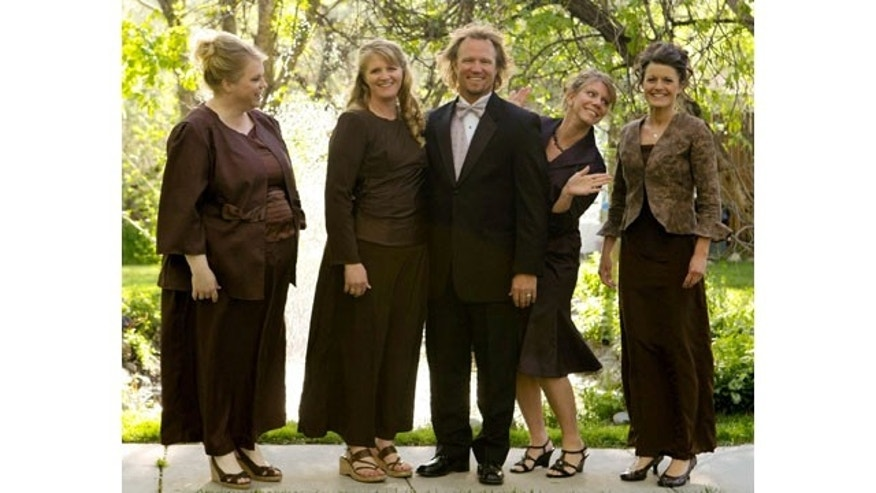 "FILE - In this undated file photo provided by TLC, Kody Brown, center, poses with his wives, from left, Janelle, Christine, Meri, and Robyn in a promotional photo for TLC's reality TV show, ""Sister Wives."" Advocacy groups for polygamy and individual liberties on Saturday, Dec. 14, 2013, hailed a federal judge's ruling that key parts of Utah's polygamy laws are unconstitutional, saying it will remove the threat of arrest for those families. (AP Photo/TLC)"