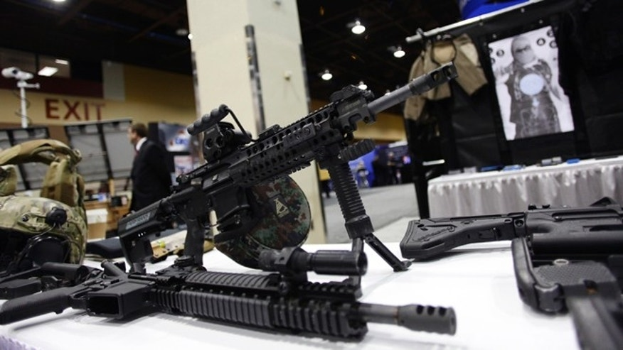 March 12, 2013: An AR-15 style assault weapon is displayed at the 7th annual Border Security Expo in Phoenix, Arizona.