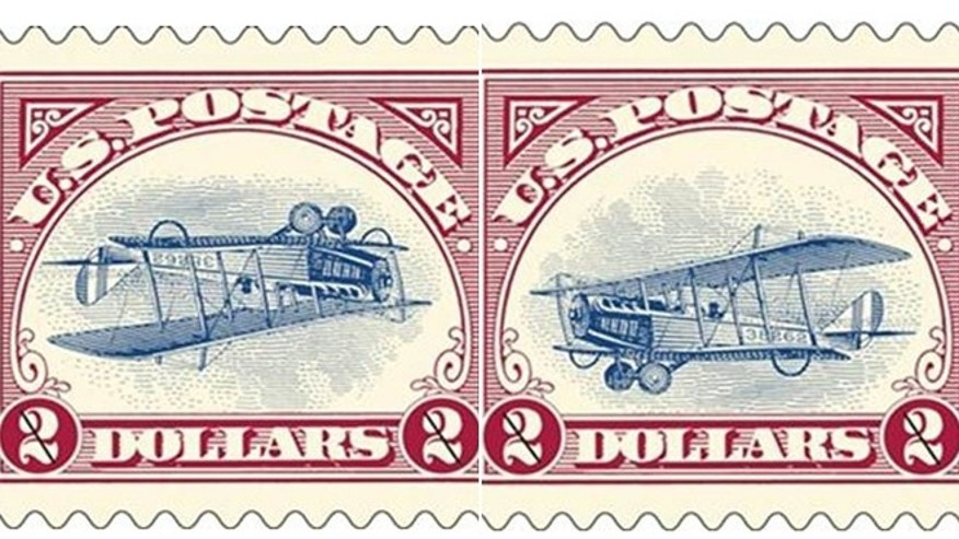 "In this combination of two 2013 photos released by the United States Postal Service, a reissue of two versions of the famous ""Inverted Jenny"" postage stamp is shown. The original 1918 stamp was printed with the upside-down bi-plane by mistake. The ""mistake"" was reissued by the USPS along with a limited run of corrected stamps in 2013 as a way to bring more people into stamp collecting. Art Van Riper, a western New York stamp collector, acted on a hunch and secured one of only 100 sheets of the corrected ""Inverted Jenny."""